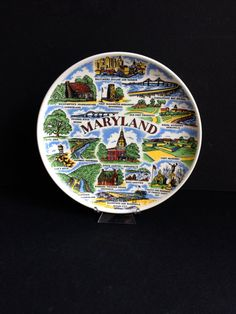Colorful Maryland Souvenir Collector Plate by 1006Osage on Etsy
