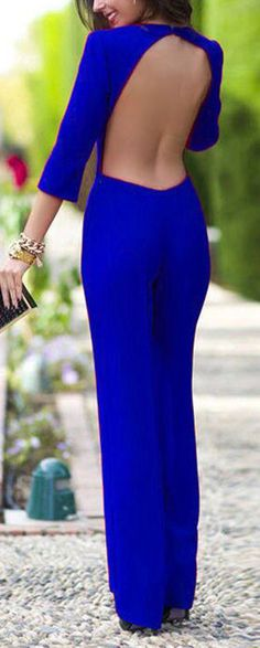 Elegant Backless Jumpsuit. don't like the color but open back! :D