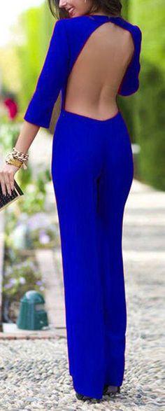 Elegant Backless Jumpsuit. don't like the color but open back! :D