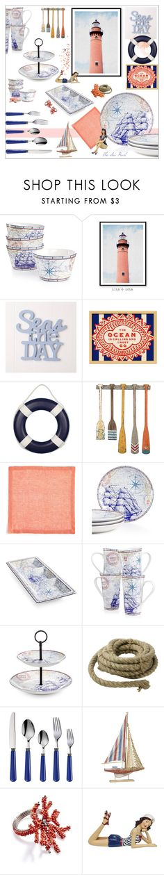 """Seas The Day Dining: Coral & Blue"" by theseapearl ❤ liked on Polyvore featuring interior, interiors, interior design, home, home decor, interior decorating, 222 Fifth, WALL, Kim Seybert and HomArt"