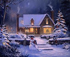 George Kovach_ Тоже пейзажи, домики, только еще и новогодние