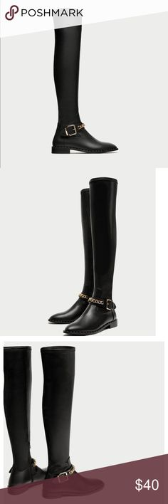 Zara over the knee high boots flats with chains Brand new with tags size EU 37 US 6.5 Zara Shoes Over the Knee Boots