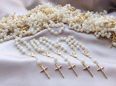25 pcs Pearl First communion favors Recuerditos Bautizo / Mini Pearl Rosary Baptism Favors