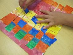 Painted weavings - for teaching warm colors and cool colors