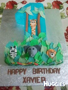 This is the cake I made for my son's first birthday. We had a jungle theme.
