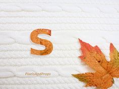 Lowercase letter s with glitter leaf and sweater knit. #fall #autumn #alphabet #typography #initial #monogram #font | maple leaf