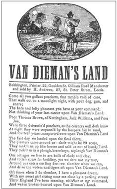 the lyrics to the song Van_Dieman's_Land Van Diemen's Land, Peter Street, Penal Colony, Australian Vintage, Port Arthur, Funny Caricatures, England Ireland, Tasmania, Beautiful Islands