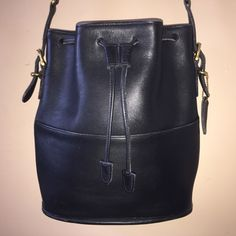 COACH VINTAGE Black Thompson Drawstring Bucket Bag 11 x 10.25 x 3.25 W/Hang Tag H7D-9804 USA by COACHCROSSING on Etsy