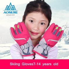 AONIJIE Children Hot Winter Ski Gloves Boys / Girls Waterproof Windproof Sports Ski Gloves Extended Wrist Gloves  xx032