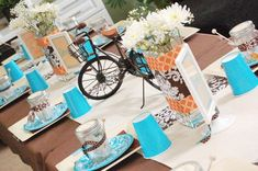 """Bicycle Built For Two Bridal Shower  Don't you love interesting themes for bridal showers! There are so many ways to incorporate the 'couple' aspect, and this """"Bicycle Built For 2″ bridal shower is a cute idea. This shower was designed by Sneha of Party Pretty Design and could easily be re-created for your own event. With a lovely mix of patterns, and a modern color scheme of turquoise and brown, the addition of small bikes, and bike themed printables set a beautiful brunch…"""