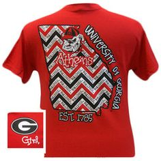New Georgia Bulldogs State Chevron Athens Girlie Bright T Shirt | SimplyCuteTees