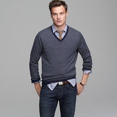 V Neck Sweater Over Button Down Shirt 15