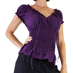 Ss Peasant Blouse Pirate Renaissance Festival Costume Chemise Gypsy... ($28) ❤ liked on Polyvore featuring tops, blouses, grey, women's clothing, cotton shirts, purple shirt, corset shirt, off the shoulder peasant blouse and peasant blouse