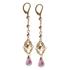 Simone blush pink earrings with pearls and quartz by Sophia & Chloe