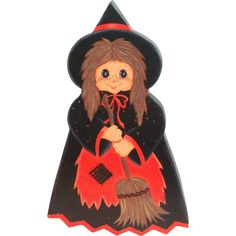 Darling Hand Painted & Signed Wooden Halloween Witch Plague/Decoration from theantiquechasers on Ruby Lane