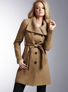 knit collar belted coat