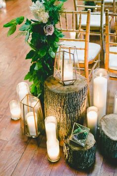 Rustic candle accented wedding decor / http://www.deerpearlflowers.com/rustic-wedding-details-ideas-you-will-love/