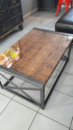 Metal frame industrial table