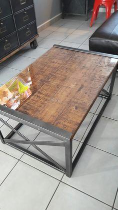 Metal frame industrial table