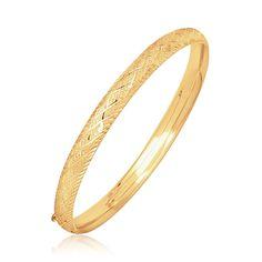 14K Yellow Gold Diamond Carved Bangle (6.0 mm)