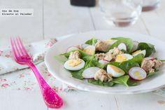 Receta de ensalada de espinacas, rabanitos y atún http://www.directoalpaladar.com/recetas-de-ensaladas/receta-de-ensalada-de-espinacas-tiernas-rabanitos-y-atun