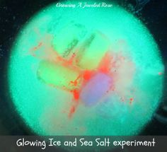 Fun Science for kids- glowing ice and sea salt experiment.
