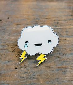 Happy Cloud Lapel Pin by crywolf on Etsy https://www.etsy.com/listing/259181150/happy-cloud-lapel-pin