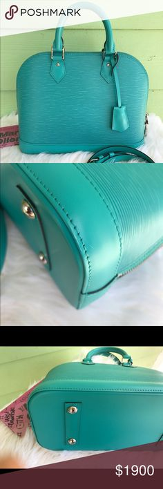 Authentic Louis Vuitton alma pm epi Authentic Louis Vuitton Alma epi pm turquoise in very good to excellent condition! Little signs of wear as you can see in pictures! Comes with dust bag and crossbody strap! Louis Vuitton Bags Shoulder Bags