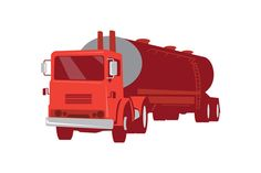 vector illustration of a cement truck tanker commercial vehicle viewed from front done in retro style. The zipped file includes editable vector EPS, hi-res JPG and PNG image.