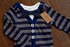 Baby Boy Nautical Blue Stripe Cardigan Bodysuit Polka Dot  Bow Tie Set 0-24 Months