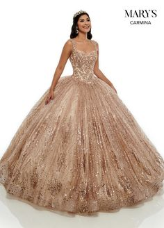 Get the beautiful Glitter Quinceañera Dress and other amazing Mary's Bridal quinceanera dresses on Mi Padrino. Xv Dresses, Royal Dresses, Quince Dresses, Princess Dresses, Long Dresses, Fashion Dresses, Tulle Ball Gown, Ball Gowns Prom, Ball Gown Dresses