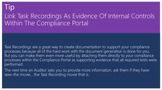 Link Task Recordings As Evidence Of Internal Controls Within The Compliance Portal