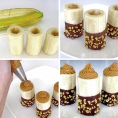 Postres nutrition in avocado - Nutrition Delicious Desserts, Dessert Recipes, Yummy Food, Chocolates, Banana Com Chocolate, Chocolate Dipped, Chocolate Chips, Peanut Butter Filling, Almond Butter