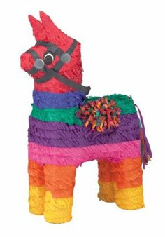 """Rainbow Donkey Pinata by Rubies. $14.25. Approximately 14"""" x 5.5"""" x 19"""". Rainbow Donkey Pinata is approximately 19"""" high x 10"""" wide x 5.5"""" deep and is colored like the rainbow (red, blue, green, purple, pink, orange, and yellow). Includes a plastic hook on the top for easy installation. Can also be used as a decoration."""