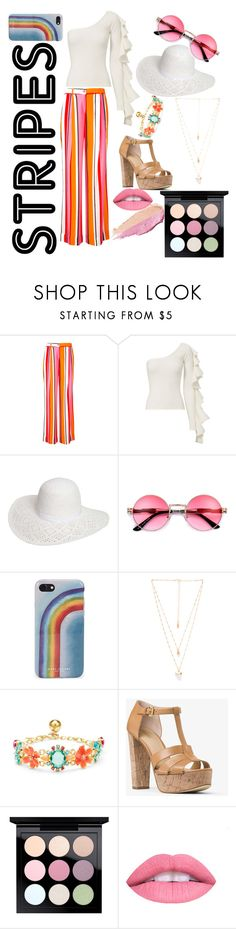 """Stripe it up."" by peacock-style ❤ liked on Polyvore featuring P.A.R.O.S.H., Beaufille, Dorothy Perkins, Marc Jacobs, Natalie B, Kate Spade, MICHAEL Michael Kors, MAC Cosmetics, L.A. Girl and By Terry"