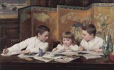 Unknown title. Jan Verhas (1834-1896) Belgian Painter.