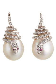 Sidney Garber Pearl, Diamond, and Ruby Snake Earrings, $17,250; barneys.com