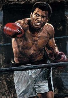 Anjas' Theme Of The Week: Sport-art week Amazing paintings by Stephen Holland Sports Illustrated, Muay Thai, Boxe Fight, Muhammad Ali Boxing, Boxing Posters, Diego Armando, Float Like A Butterfly, Boxing Champions, Ali Quotes