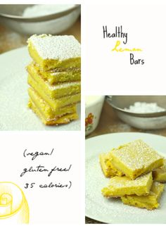 Healthy Lemon Bars  {applesauce, vanilla extract, almond milk, stevia, salt, eggs, cane sugar, lemon juice, lemon zest, cornstarch, white whole wheat flour, greek yogurt, vanilla extract & turmeric}