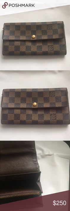 Louis Vuitton wallet In used condition. Wear throughout. Plenty of life left. Authentic.  Some discoloring inside the zipped pocket Serial number CA0064. No trades Louis Vuitton Bags Wallets