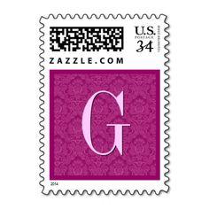 Pink Magenta Damask  Monogram Wedding Postage #wedding #stamps #love #marriage #romance #bride #groom #jaclinart #love #postage #pink #magenta #damask #monogram