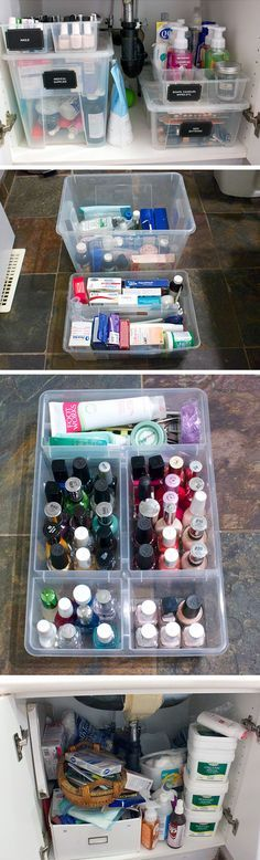 Organize Cabinet with Plastic Containers | 16 DIY Bathroom Storage Ideas on a Budget | DIY Bathroom Storage Ideas for Small Spaces