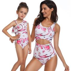 fa36cea577b52 Parent-child Swimsuit Family Matching Swimwear – Pink-Always Matching  Family Outfits, Matching