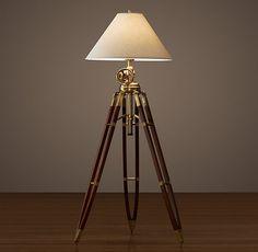 Restoration Hardware(レストレーションハードウェア)フロアライト「Royal Marine Tripod Floor Lamp」Antique Brass and Brown
