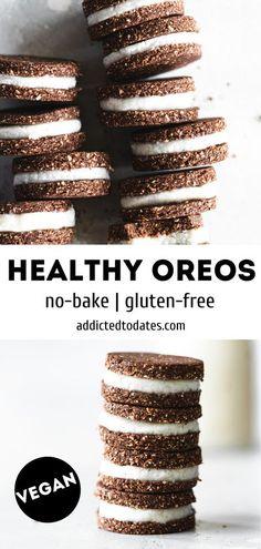 Vegan No Bake Cookies, Healthy Vegan Cookies, Oreo Cookies, Vegan Snacks, Vegan Food, Vegan Meals, Healthy Dessert Recipes, Vegan Desserts, Snack Recipes