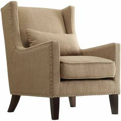 Weston Home St Alden Living Room Linen Accent Chair with Matching Throw Pillow, Light Brown - Walmart.com - Walmart.com Wingback Accent Chair, Wingback Armchair, Accent Chairs, Living Room Chairs, Living Room Furniture, Furniture Chairs, Furniture Sale, Furniture Ideas, Furniture Design
