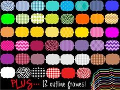 digital frames with patterns like polka dots, stripes, chevron and zebra!