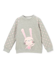This Gray & Pink Bunny Sweatshirt - Infant, Toddler & Girls is perfect! #zulilyfinds