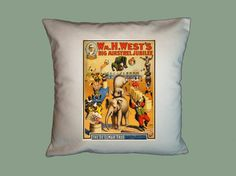 Vintage Circus Poster Canvas Pillow Cover 16x16 by WhimsyFrills, $20.00