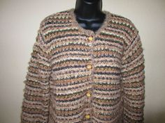 Sigrid Olsen Knitted Sweater Medium M Button Front Striped Oatmeal Black